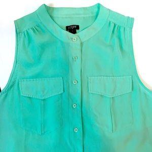 J.Crew Silky Sea Foam Green sleeveless blouse